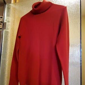 BANANA REPUBLIC red wool turtleneck sweater.